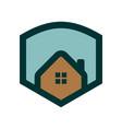 simple house logo shield badge vector image