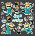 sushi stickers pattern vector image