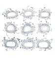 Set of round floral frames Nine decorative vector image