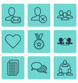 set of 9 social network icons includes speaking vector image