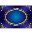 blue elegant vintage card with gold frame vector image vector image