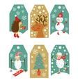 Colorful Christmas gift tags vector image