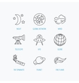 Ufo planet and telescope icons Global network vector image