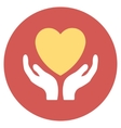 Heart Care Flat Round Icon vector image