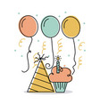 birthday cupcake candle and hat decoration vector image