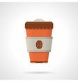 Disposable coffee cup flat color icon vector image