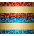red and blue backgrounds with golden pattern vector image