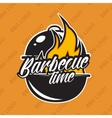 Retro barbecue logo design with fire vector image