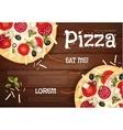 Tasty Pizza on Wood Texture vector image