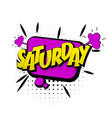 Comic purple effects pop art saturday week end vector image