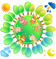 concept of a planet in four seasons vector image vector image