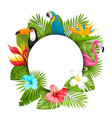 Summer clean card with tropical plants vector image