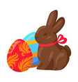 sweet chocolate bunny and two multicolored eggs vector image