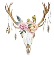 Watercolor deer head with wildflowers vector image
