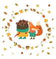 Cute fox and bear walking in wreath of autumn vector image