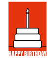Birthday Postcard in linear style Cake and candle vector image