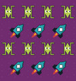 colorful pattern of spatial ships and rockets game vector image