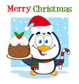 cute penguin holding christmas pudding vector image