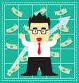 Cute Stock Market Investor Flat Cartoon vector image