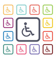 disabled flat icons set vector image