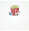 Popcorn and 3d glasses Cinema concept vector image