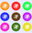 simple running human icon sign Big set of colorful vector image