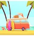 Surfing And Bus Retro Cartoon vector image
