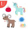Letter U Cute animals Funny cartoon animals vector image
