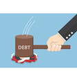 Businessman smashed by hammer of debt vector image
