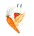Healthy Girl with Carrot vector image vector image