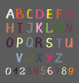 colorful alphabet on grey vector image
