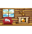 A cat sleeping above the chair near the fireplace vector image vector image