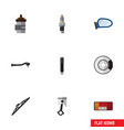 flat icon auto set of absorber windshield input vector image