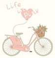 Valentine card with pink bicycle vector image