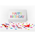 Happy birthday greetings card with note paper vector image