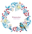Watercolor floral wreath vector image vector image