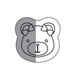 monochrome contour sticker with female teddy bear vector image