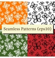 Beautiful seamless butterflies pattern set in vector image vector image
