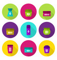 cosmetic jars flat icon set vector image