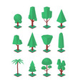 isometric trees set objects for landscape vector image