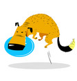 cute dog jumping with disk dog sport cartoon pet vector image vector image