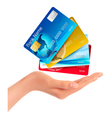 Hand holding credit cards vector image vector image