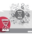 Paper and hand drawn hourglass emblem with icons vector image vector image