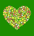 heart from round fruits decoration vector image