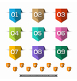 Label bookmark with Number long shadow Flat Icons vector image