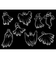Halloween funny ghosts cartoon chalk icons vector image