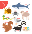 Letter S Cute animals Funny cartoon animals in vector image vector image