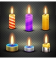 Different candles with flame set isolated vector image vector image