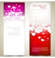 Beautiful greeting cards with white paper hearts vector image vector image