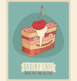 Cerry piece of cake Happy Birthday sweet cupcakes vector image